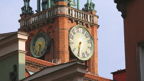 Sophisticated old architecture and fancy clock of Gdansk Main Town Hall tower Footage