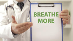 Doctor advice patient to breathe more Footage