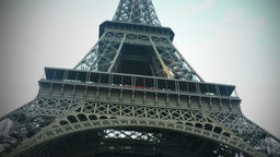 Animated Airplane Flying Behind Eiffel Tower Footage