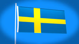 the national flag of Sweden CG動画