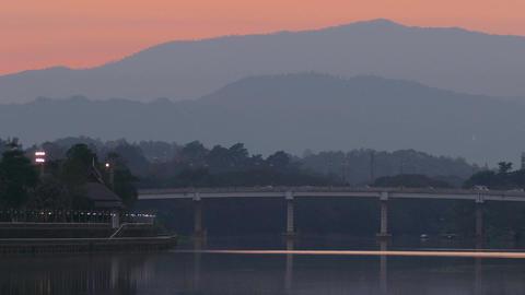 Lake Bridge Transport Mountains Sunset 4k Footage