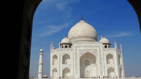 Panorama Taj Mahal Arch Agra India 4k Footage