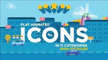 260 Flat animated icons After Effects Template