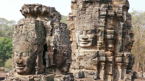 Tilt Down Cambodia Angkor Wat Bayon Temple 4k Footage