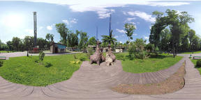 360 video Statues of giraffes in the park VR 360° Video