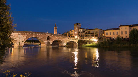 Stone Old Bridge in Verona - Ponte Pietra Footage