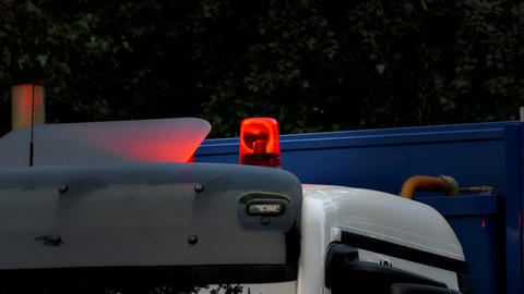 1080p Orange Flasher Spins and Flashes on Roof of Truck Cab On Footage