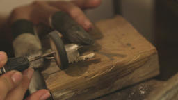 Creating brass jewelry in a workshop Footage