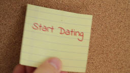 Dating reminder note on a bulletin board Stock Video Footage