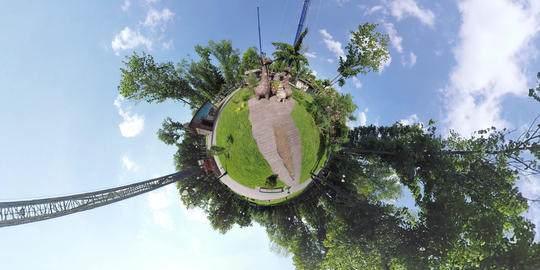 tiny planet Giraffe family in the Ukrainian park Footage