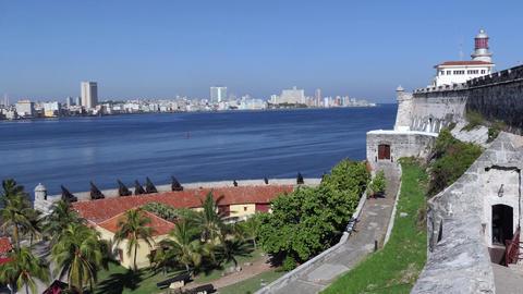 Cuban Urban Landscape Castle Monument Caribbean Sea In Havana Cuba 画像