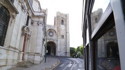 Lisbon Cathedral from tram 28 Footage