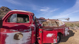 Timelapse of old red truck Footage