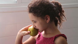 young girl with an apple Footage