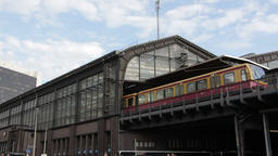Berlin train station on the Spree river Footage