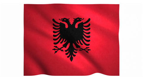 Flag of Albania waving on white background Animation