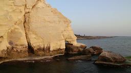 Rosh Hanikra cliffs in northern Israel Footage