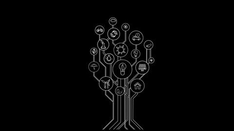 Ecological Icons Tree With Alpha Channel Animation