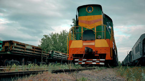 Close-up of diesel train locomotive 4k Footage