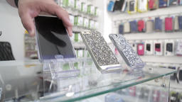 Smartphones on display in a store Footage