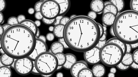 Many Clocks flying in Time-lapse in 3D animation. Time Concept Footage. HD 1080. Animation