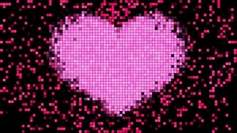 Pixels on Digital Screen with Heart Shape Beating. Looped 3d animation. HD 1080 Animation
