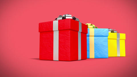 Many Beautiful Gifts and Presents falling on red background 3d animation. HD 108 Animation