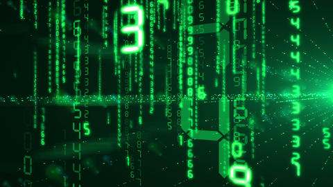 Green Numbers in Digital Code falling in rays of flashing light . Looped 3d anim Animation
