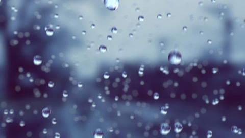 Beautiful Rain Drops in Slow Motion Falling. Loop. HD 1080 Animation