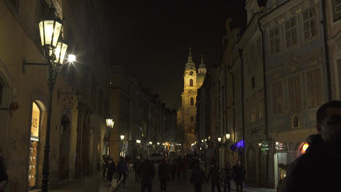 Streets Of Prague At Night Full Of People Timelapse stock footage