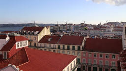 The City Of Lisbon Panoramic View From Balcony Footage