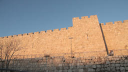 The walls of the old city in Jerusalem Footage