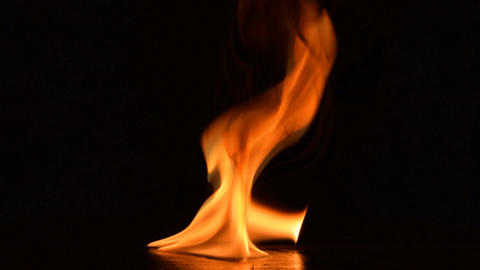 Fire flames on black background Footage