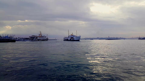 Public Transport Ship Traffic,Istanbul Turkey Footage