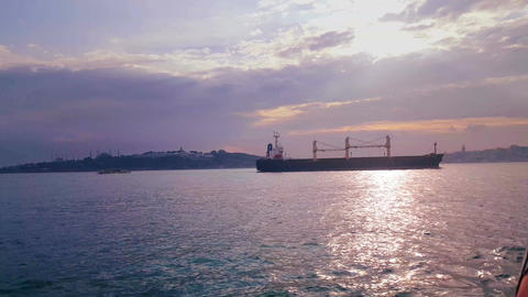 Vessel passing from Bosphorus, istanbul Turkey Footage