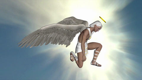 The angel inclined his knee and stood in the sky Animation