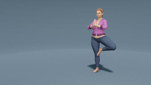 Plus size blonde woman in tree pose yoga loopable Animation