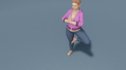 Plus size caucasian woman in tree pose yoga close up Animation