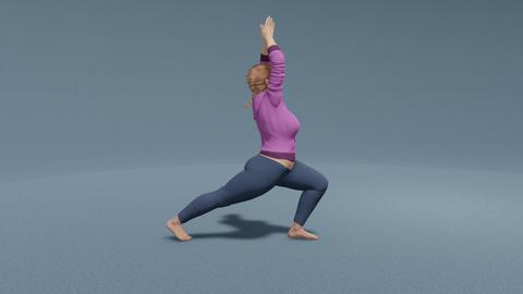 Plus size caucasian woman practicing yoga close up Animation