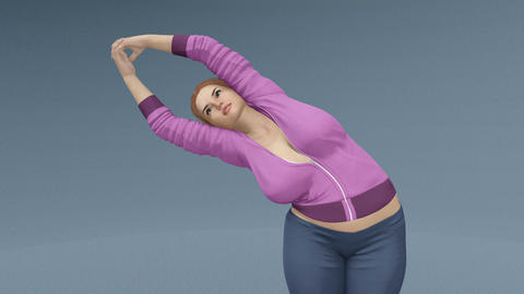Plus size blonde woman in half moon yoga pose close up Animation