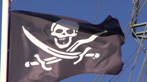 Pirate flag waving in the wind Archivo