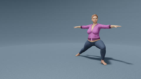 Curvy woman in yoga pose on gray background loopable Animation