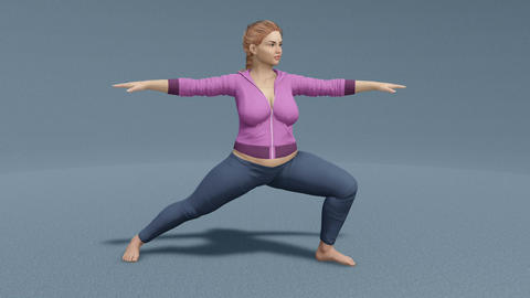 Young plus size caucasian woman in warrior yoga pose Animation