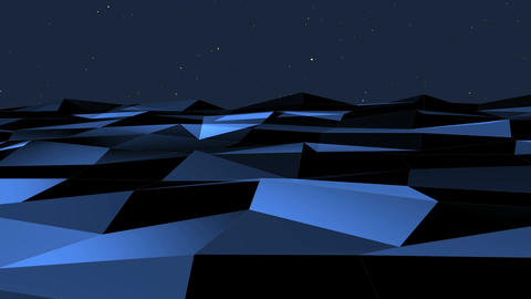 Flying over blue polygon landscape. Science concept.…, Stock Animation
