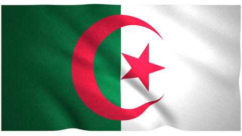 Flag of Algeria waving on white background Animation