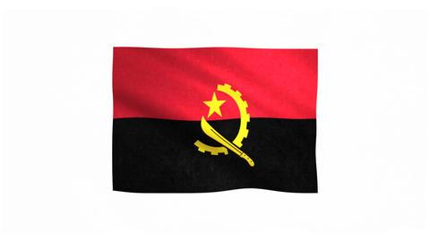 Flag of Angola waving on white background Animation