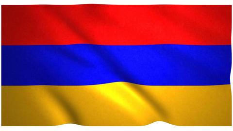 Flag of Armenia waving on white background Animation