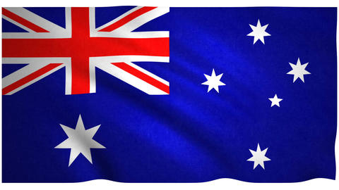 Flag of Australia waving on white background Animation