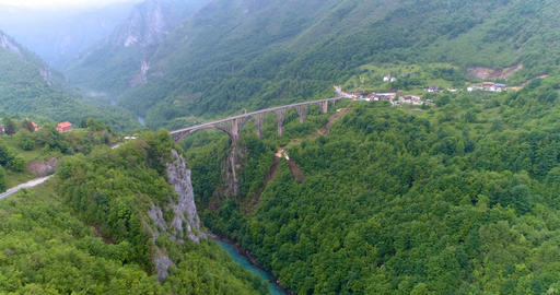 Djurdjevic's bridge on the river Tara. Montenegro. Aerial Footage