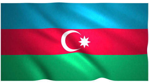 Flag of Azerbaijan waving on white background Animation